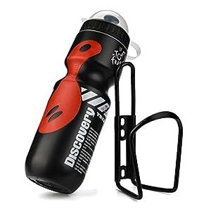 Vovotrade Conjunto 650ML Al Aire Libre Agua Botella + Soporte Jaula Estante Montaña Ciclismo Bicicleta Bici Equipo (Negro)