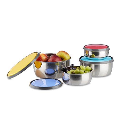 Relaxdays 10020838_658 set di ciotole con coperchio 4 pz diverse misure acciaio inox, salvaroma, plastica, da cucina, campeggio colorato