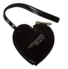 Idea Regalo - Trussardi Jeans Portachiavi donna con zip articolo 75K00015 CHARM CUORE ECOLEATHER KEY RING - cm.8x8