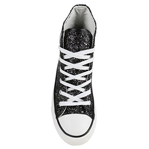 Damen Sneakers High Freizeit Glitzer Turnschuh Sportliche Schuhe Schwarz Glitzer
