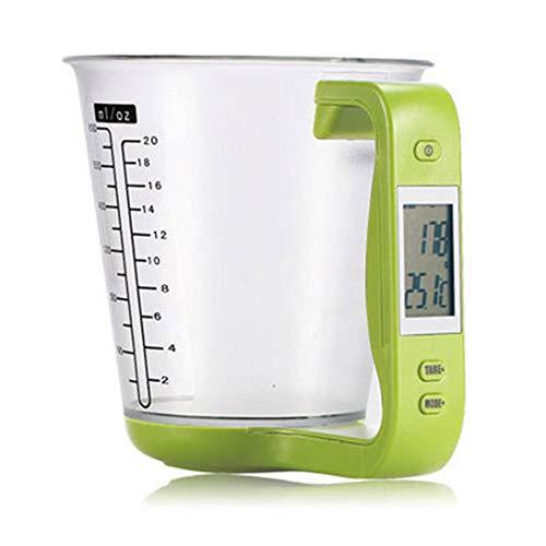 Misurino elettronico da cucina multifunzione, tazza di alta precisione in polvere per latte, bilancia da cucina per alimenti, verde