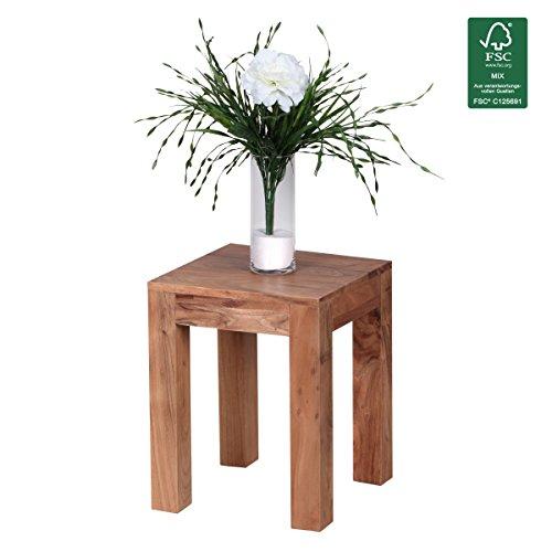 FineBuy solide table en bois d' acacia 35 x 35 cm design table de salon sombre table basse de style campagnard brun produit naturel Meubles de salon unique , véritable bois de meubles en bois massif moderne Anstelltisch