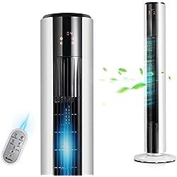 LC Display Ventilateurs colonne Tour rafraichisseur Portable,Oscillation 80°Puissant et Ultra Silencieux Une tour élégante avec Blanc 110cm