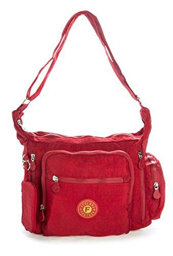 Big Handbag Shop Sac bandoulière léger en tissu Poches multiples Taille M - Rouge - rouge, One