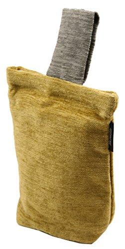 McAlister Textiles Morbida Ciniglia Fermaporta | Home Decor Tessuto Pavimento per Porte e Finestre | Giallo e Grigio