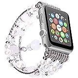 Armband für Mode Sport Perlen Armband Watch Strap Band Uhrband Ersatz für Apple Watch 1/2/3 38mm (A) (3)