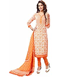 Miraan Women's Cotton Unstitched Dress Material (Orange_Free Size)