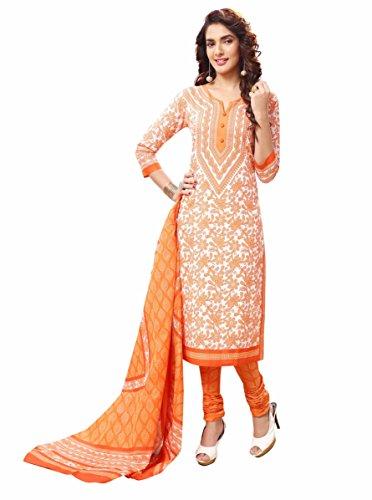 Miraan Women\'s Cotton Unstitched Dress Material (Orange_Free Size)
