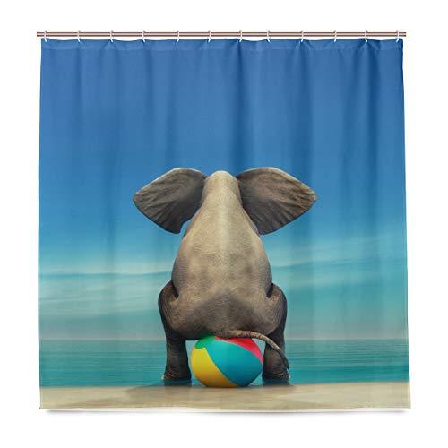 SKYDA Duschvorhang Elefant am Strand Ball, wasserdicht, schimmelresistent, antibakteriell, personalisiertes Design, Polyester, 180 x 180 cm, mit 12 Haken