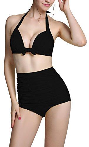 Zando Frauen Retro 50s Vintage Bikini Neckholder Hohe Taille Bademode Badeanzug Set Gr. XXXXL, schwarz (Strumpfhose Spitzen-gemusterten)