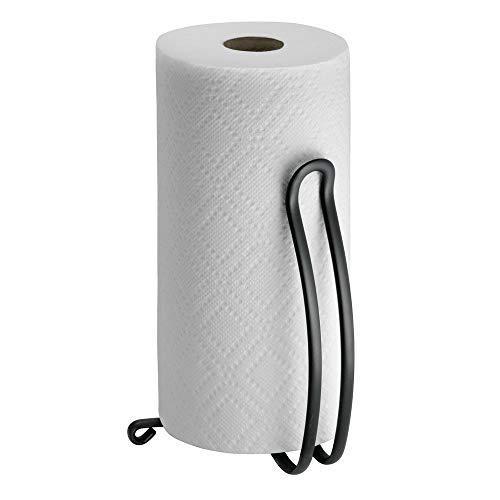 mDesign Halter Küchenrolle stehend - Größe: 27,3 cm, Farbe: Mattschwarz - Rollenhalter Küche - Küchenrollenhalter ohne Bohren -