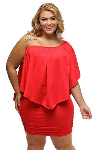 La Vogue Femme Robe Grand Taille Hanche Epaule Moulante Soirée Rouge