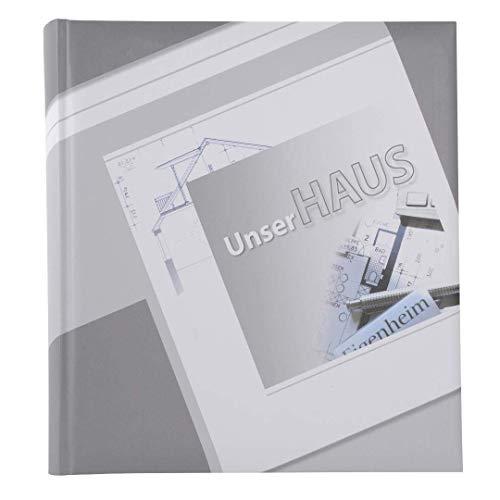 Goldbuch Fotoalbum, Unser Haus, 30 x 31 cm, 60 weiße Seiten mit 4 illustrierten Seiten und Pergamin-Trennblättern, Kunstdruck laminiert, Grau, 27001
