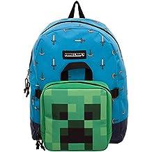 Minecraft Mochila Espada y Hacha con Bolso Mini Creeper Azul Verde