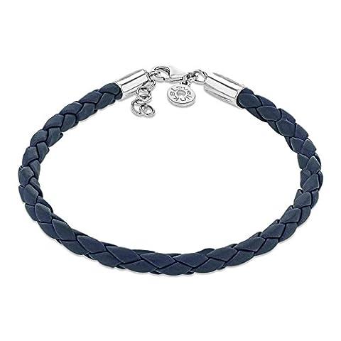 Lovelinks 925 Sterling Silver Blue Woven Leather Bracelet of Length 18 cm + 3 cm Extender