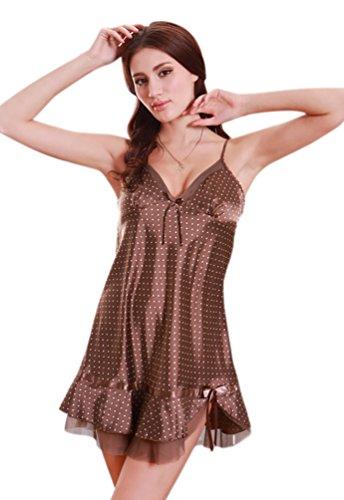 NiSeng donna pigiama seta cinghia camicia da notte punto disegno Marrone
