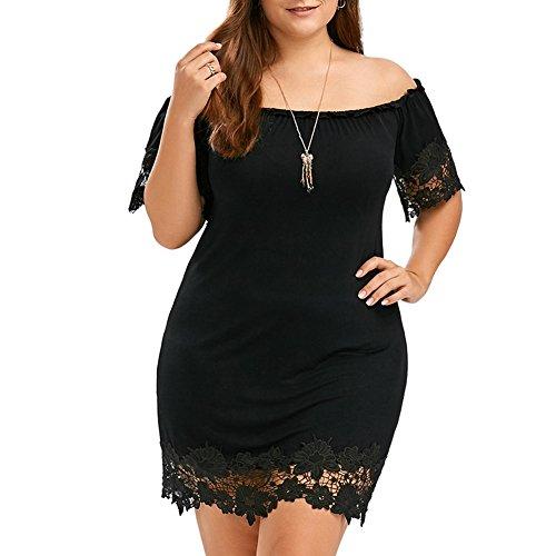 iShine Kurzes Kleid mit Boot-Ausschnitt Kurzen Ärmeln Weit Rock mit Spitze ausgeschnitten Schwarz Große Größe für Frau Mädchen (Knie Eine Unterhalb Der Linie Kleider)