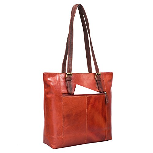 STILORD 'Romy' Borsa da donna grande in pelle con bretelle lunghe Borsa a spalla vintage in vero cuoio elegante , Colore:cognac-marrone