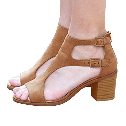 Tomwell Sandalen Damen Elegant Wedge Mode Schnalle Wildleder Fischmaul Schuhe Frühling Peep Toe Sommersandalen Braun 41 EU