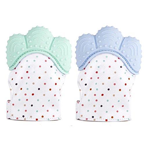 2 Stück Beißringe Fäustling Handschuh für Babys Säuglinge BPA frei Zahnen Kauen Spielzeug Selbstberuhigende Schmerzlinderung Handschuh Baby Beißring Spielzeug Mitt Blau & Grün Mitt Grün