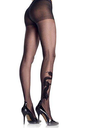 Preisvergleich Produktbild Leg Avenue 9910 - Strumpfhose mit Drachen Tattoo Dessous Damen Reizwäsche, Einheitsgröße (EUR 36-40)