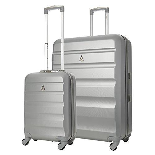 Aerolite Leichtgewicht ABS Hartschale 4 Rollen Trolley Koffer Reisekoffer Gepäck, 2 Teilig Kofferset Gepäck-Set, 55x35x20 Handgepäck + 7...