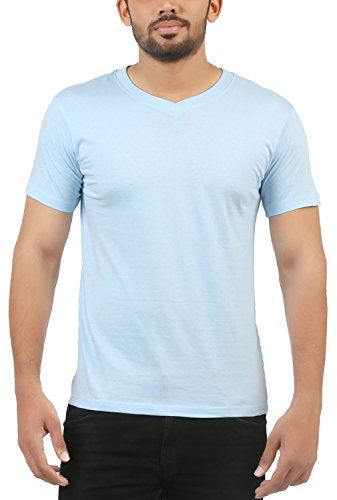 VUYHAZ Mens Cotton T-Shirt (VB01_XS, Blue, XS)