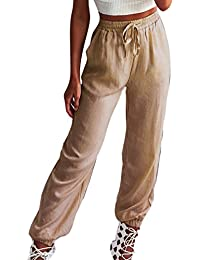 Hibote Femme Pantalons D été Taille Haute Pantalons Décontractés Doux  Respirant Pantalon en Lin avec 83dd71d28514