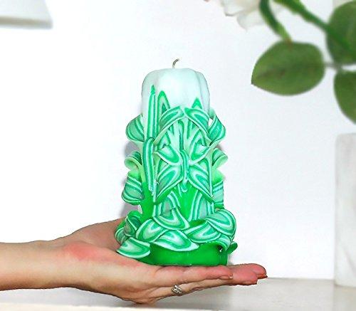 - Grüne und weiße Geschenkkerze für den Hochzeitszeuge (Halloween-ideen Paar)