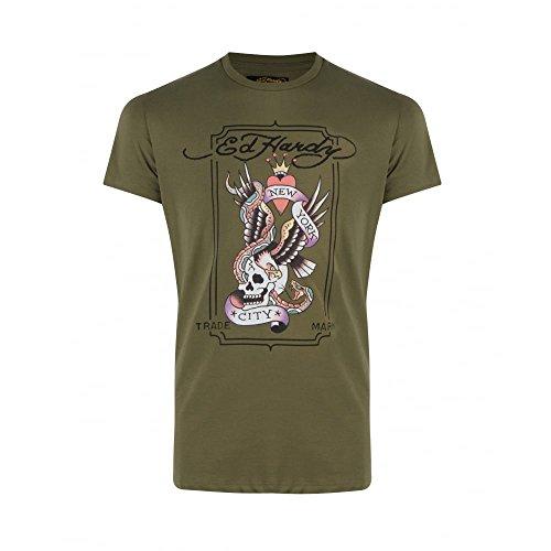 Ed Hardy Herren T-Shirt Grün City Snake | Khaki, - T-shirt Ed Hardy