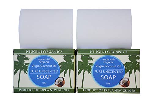 2 x Die Reinste Kokosseife DER WELT Aus Nur Zwei Zutaten | 100% Vegane Naturseife | Fairtrade | Nachhaltige Produktion | Ohne Palmöl | 100% Pur & Geruchlos, 2 x 100g (Unscented Seife)