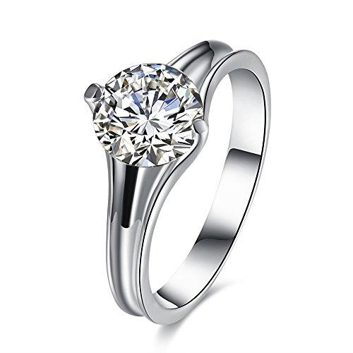 YAYA Contratto Di Moda Placcatura D'Oro Bianco Fedi (18k Oro Bianco Della Collana Di Diamante Solitario)
