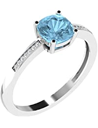 His & Her .925 Sterling Silver, Diamond And Topaz Ring For Women