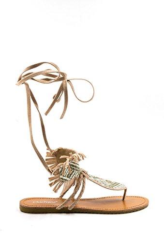 Offene Damen Schuhe Gladiator Schnür-Sandalen Zehen-Trenner mit Fransen Wildleder Optik in schwarz oder beige Massai-Design, Farbe:Beige, Größe:37