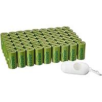 AmazonBasics - Sacchetti igienici per cani, versione migliorata, con dispenser e clip per attacco al guinzaglio, confezione da 810 pezzi, aroma: cetriolo