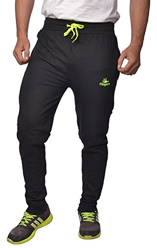 Finger's Men's Cotton Track Pants With Zipper Pockets(Neon Green_Lpntgb_M)