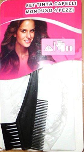 I.C. Set 4 pièces : Pinceau pour teinture cheveux couleur noire + Cape, gants et cache-oreilles à usage unique