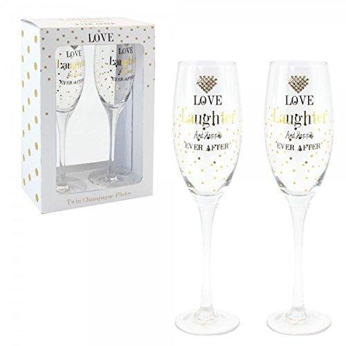 Personnalisée or Dots Lot de 2 flûtes à champagne de mariage avec cœur en cristal et sentiment