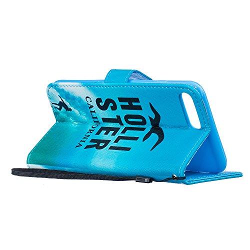 Voguecase® für Apple iPhone 5C hülle,(Blue Sand 01) Kunstleder Tasche PU Schutzhülle Tasche Leder Brieftasche Hülle Case Cover + Gratis Universal Eingabestift California 01