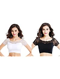 Gopalvilla Women's Nylon Lace Padded Blouse -Pack of 2 - SFH020_W_BK_4_White and Black_Free Size