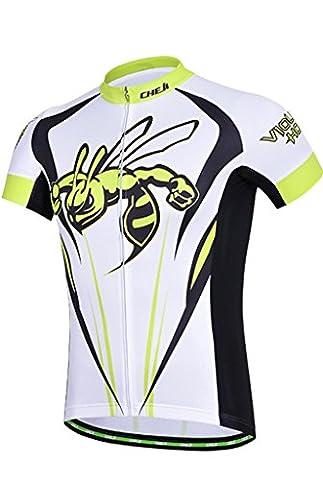 Cheji Maillot de Cyclisme Homme Manches Courtes Couleur Jaune