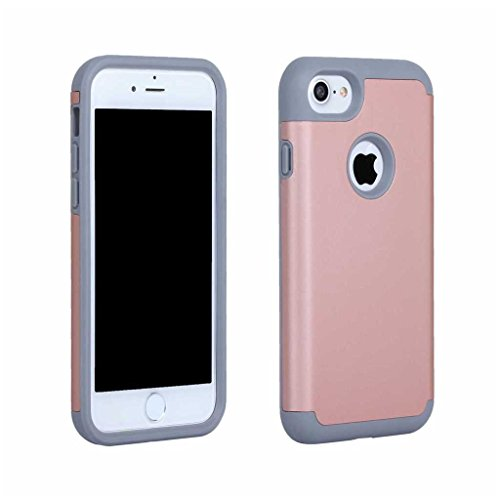 iPhone 7 Plus Hülle [mit Frei Panzerglas Displayschutzfolie], BoxTii® iPhone 7 Plus Schutzhülle Bumper Silikon TPU + PC Hartem Cover, Anti-Scratch Weiche Langlebig Rückdeckel für Apple iPhone 7 Plus ( #10 Pink