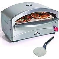 Horno individual para pizza, a gas, barbacoa, cocinado sobre piedra refractaria, 4,8 kW, 400º C en 5 minutos, estructura de acero inoxidable, encendido piezoeléctrico