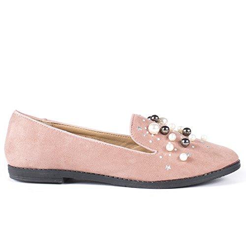 Ideal Shoes Slippers Effet Daim Incrustés de Strass Felicia Rose