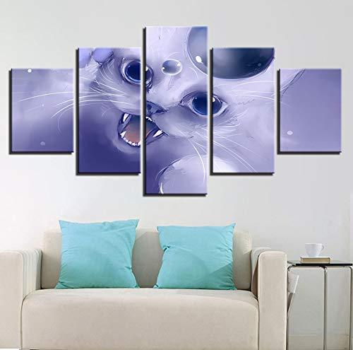 Wiwhy Dekoration Hd Gedruckt Poster Wandkunst Leinwand Malerei 5 Panel Animation Tier Katze Wohnzimmer Modular D Bilder-20X35/45/55Cm,With Frame