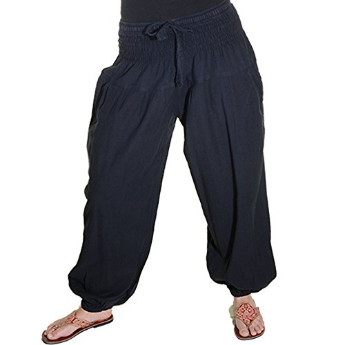Kunst und Magie Damen Pluderhose Haremshose Sommerhose Hippie Goa Wellness Yoga, Farbe:Black/Schwarz, Größe:34-38(S/M)