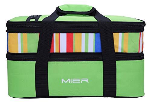 Mier grande freddo borsa termica doppio casseruola carrier pranzo termica tote per potluck parti, picnic, spiaggia - fits 9x13