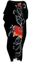 Cool Kaftans New Amazing Black ORCHID Flower Kaftan Dress Floral Soft 14 16 18 20 2 2 24 + Cool Kaftans
