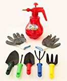 #6: TiedRibbons® Essential 14 Garden Tools Kit (Weeder, Cultivator, Big Digging Trowel, Small Digging Trowel, Garden Fork ) with Heavy Duty Hand Gloves and Pressure Sprayer Pump