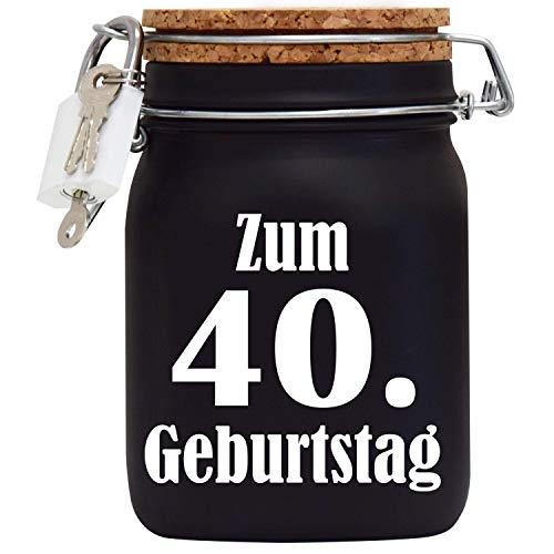 Spardose Geburtstag zum 40 - Geld-Geschenk-Idee mit Schloss in Schwarz L (40. Geburtstag-ideen Für Frauen, Deko)